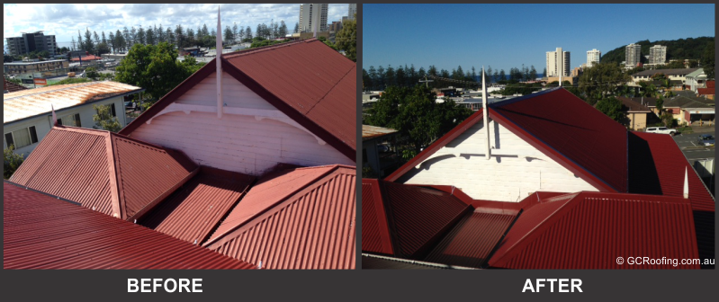 Before and After Colorbond Roof Replacement Gold Coast